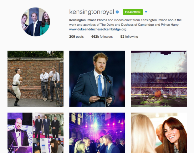 kensington palace instagram prince william kate middleton prince harry